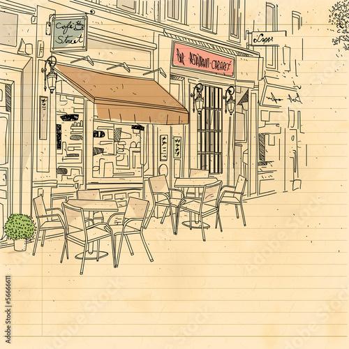 Foto auf AluDibond Gezeichnet Straßenkaffee cafe street