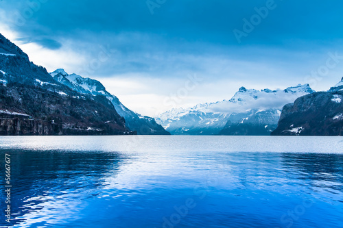 Poster Lac / Etang Winter landscape. winter mountains landscape. Beautiful winter.