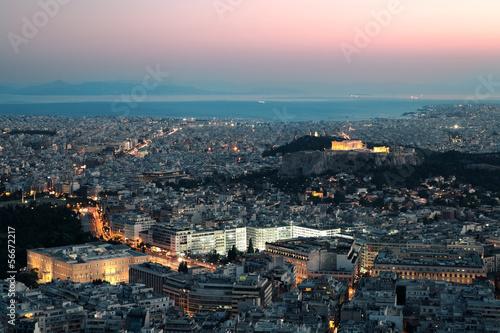 Staande foto Athene Night view of the Acropolis, Athens, Greece