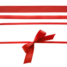 Red And Black Polka Dot Ribbon With Bow