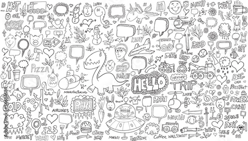 Poster Cartoon draw Doodle Sketch Vector Illustration Set