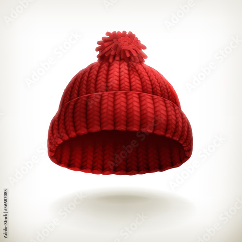 Fotografia  Knitted red cap illustration