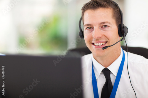 Fotografie, Obraz  male customer support operator with headset
