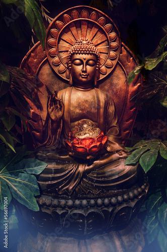 Golden buddha statue Fototapete