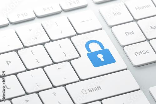 Fotografía  Privacy concept: Closed Padlock on computer keyboard background