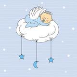 baby boy sleeping on a cloud. Birthday Card