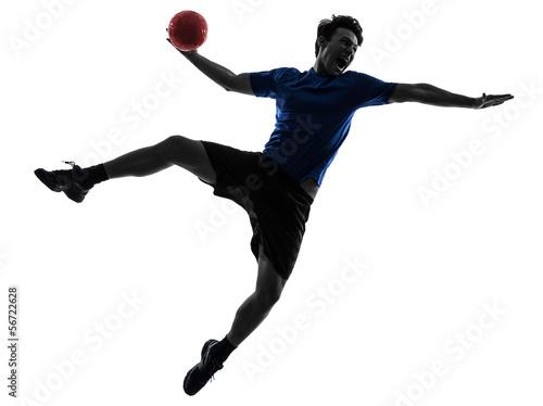 young man exercising handball player silhouette