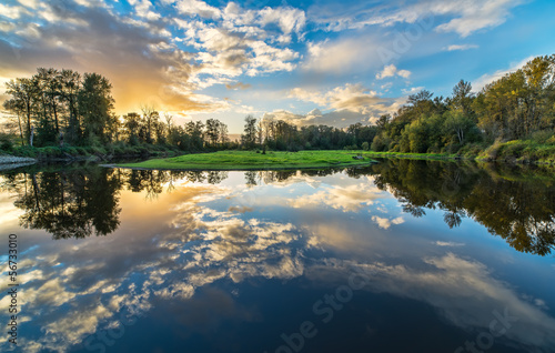 Fototapete - Wide Angle River Clouds Reflection