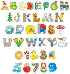 English alphabet and numera...