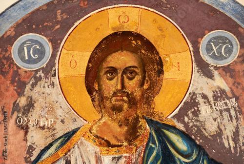 Obraz na plátně Fresco from Hilandar monastery, Mount Athos