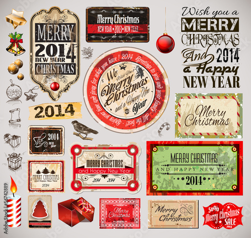 Poster Affiche vintage Christmas 2014 Vintage labels and typo collection