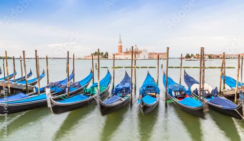 Spoed Foto op Canvas Gondolas gondola boats and San Giorgio church, Venice