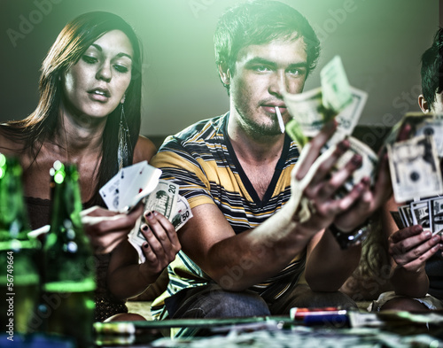 teens at party gambling and doing drugs Poster