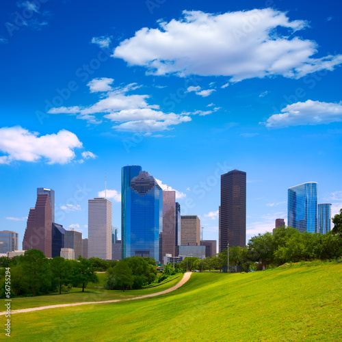 Poster Chicago Houston Texas Skyline modern skyscapers and blue sky