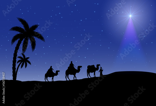 Fotografia  Three wise men and Christmas star