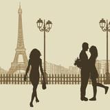Peoples on a street in Paris