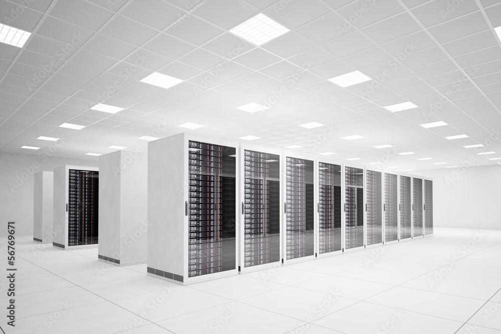 Fototapeta Data Center with 4 rows of servers
