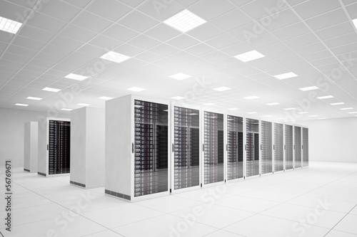 Fotografía  Data Center with 4 rows of servers