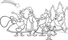 Christmas Santa Group Coloring Page