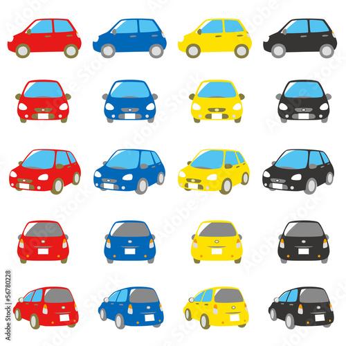 自動車 赤、青、黄、黒色 セット