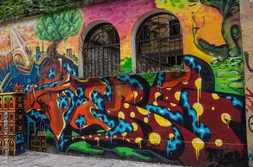 Foto op Aluminium Graffiti murales saracinesca