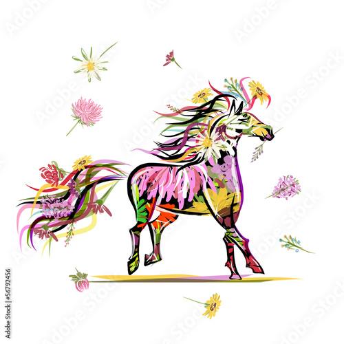 szkic-konia-z-kwiatowa-dekoracja-do-projektowania-symbol