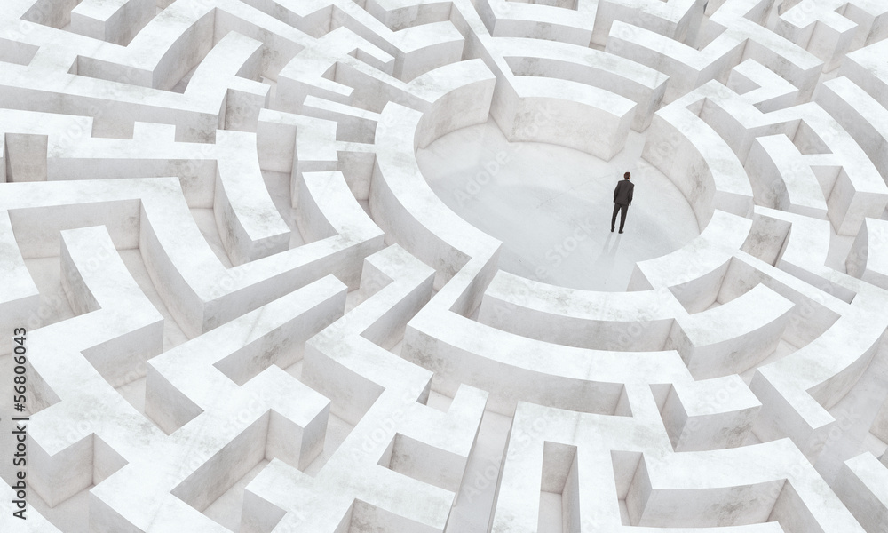 Fototapeta businessman in the middle of a maze