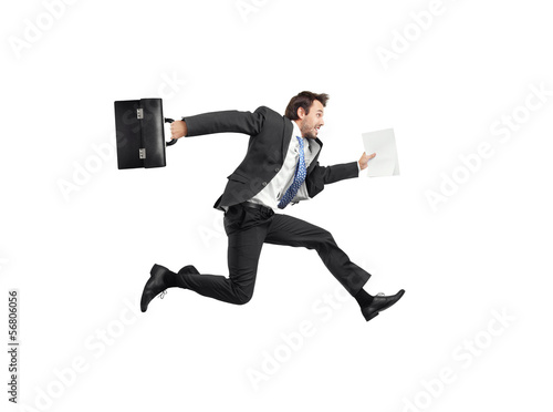 Fotografie, Obraz  running businessman isolated on white
