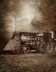 Fototapeta na wymiar Stara lokomotywa w jesiennym lesie