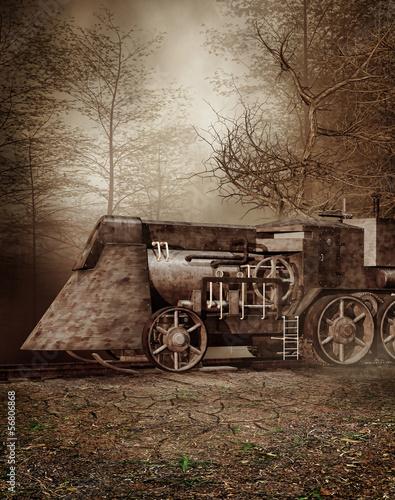 Obrazy na płótnie Canvas Stara lokomotywa w jesiennym lesie
