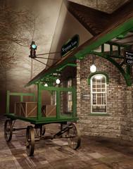 Fototapeta na wymiar Stacja kolejowa z wózkiem i pudłami