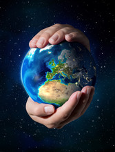 Earth In The Hands - Europe - Universe Background