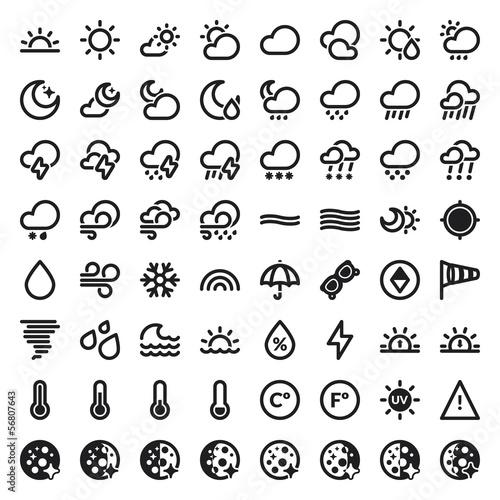 Fotografia, Obraz  The Weather flat icons. Black