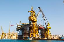 Oil Platform, Repair In The Harbor