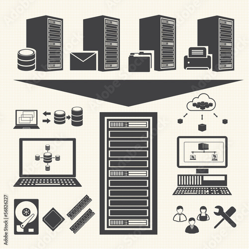 Fotografía  Data management icons set. System Infrastructure Vector