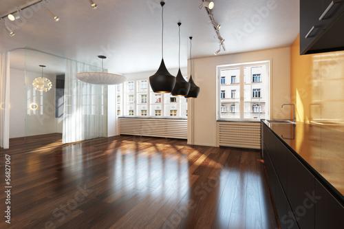 Obraz Empty interior residence with hardwood floors in the city - fototapety do salonu