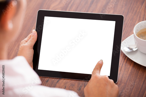 Fotografia  Woman With Digital Tablet And Cup
