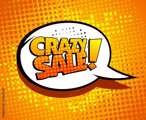 Poster Pop Art Crazy sale bubble talk in pop-art style.