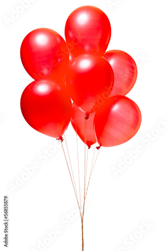 Deurstickers Ballon Red balloons isolated on white