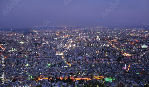 Damascus, Syria, city aerial night view