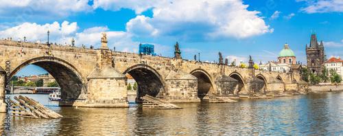 Fotografia Karlov or charles bridge and river Vltava in Prague in summer