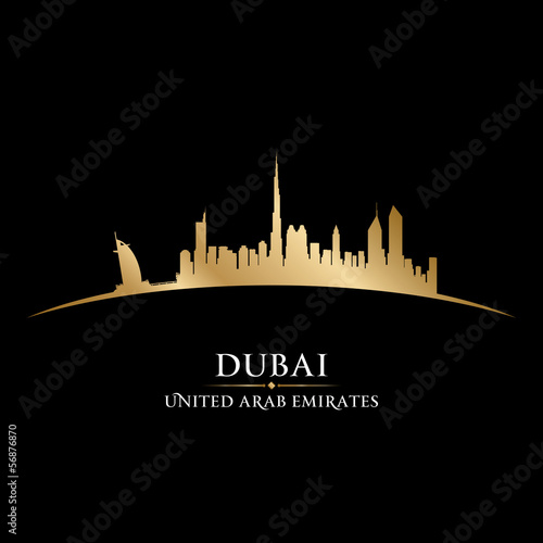 Dubai UAE city skyline silhouette black background Poster
