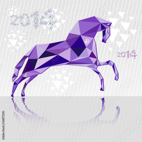 Poster Geometric animals Horse is a symbol of 2014