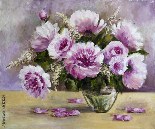 Obraz w ramie bouquet of peonies in a glass vase