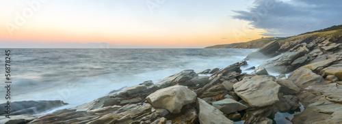 Printed kitchen splashbacks Khaki Panorama of ocean shore at a crack of dawn (Slow shutter speed)