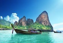 Boats On Railay Beach In Krabi...