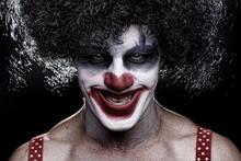 Spooky Clown Portrait On Black...