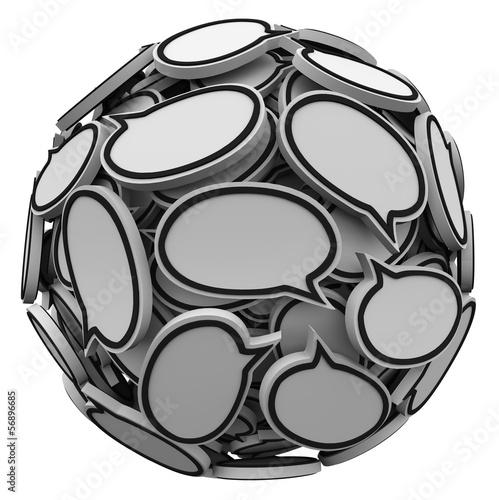 Fotografie, Obraz  Many Speech Bubbles in a Sphere Cluster Talking Feedback