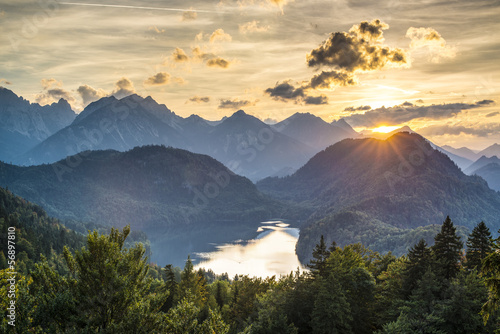 Bavarian Alps at Lake Alpsee in Germany