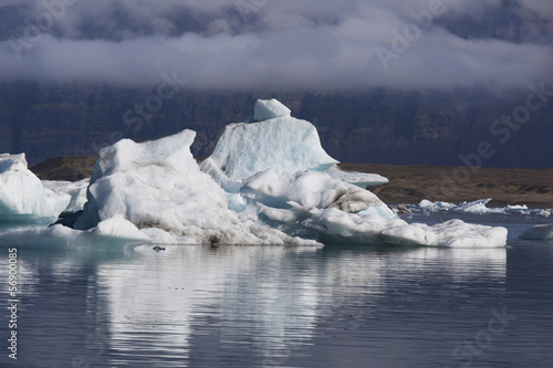 Autocollant pour porte Arctique Jökulsárlón laguna dei ghiacci Islanda
